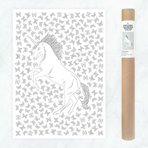 Room Decor Poster, Large Unicorn with Butterfly Patterns to DIY Coloring Wall Art Decoration Pictures for Teen, Girls, Perfect for Home Office Classroom Living Room Bedroom from AnnaGrundulsDesign