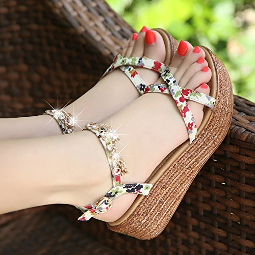 Sandals Student Heels light Lin Wedge Xing Sweet Shoes High Summer Sandals Thick Leather Soles Diamond Women Shoes Shoes New green UwEqqOa