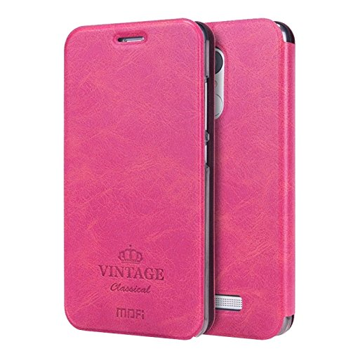 For cellphone Cases, MOFI VINTAGE Xiaomi Redmi Note 3 Crazy Horse Texture Horizontal Flip Leather Case with Card Slot &Holder &Sleep / Wake-up Function ( Color : Magenta )