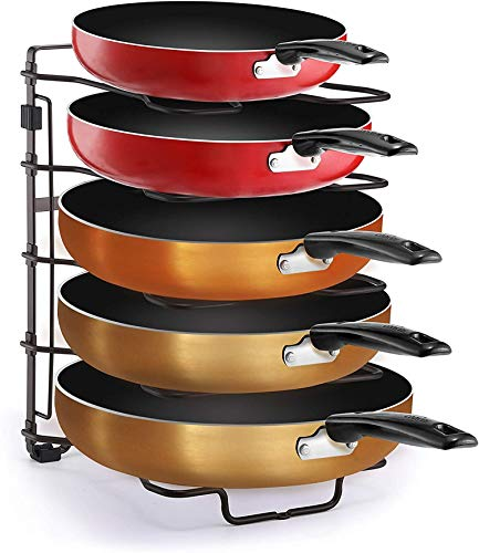 Kitchen Simple Trending Adjustable Pan and Pot Lid Organizer Rack Holder, Kitchen Counter and Cabinet Organizer, Bronze pot lid holders