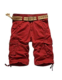 MedzRE Men's Classic Cotton Straight Fit Cargo Shorts