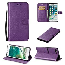 iPhone 7 Cute Elephant Pattern Case,[Stand Feature] [2 Card Slots] [Money Pocket] Synthetic Leather 4.7inch iPhone 7 Wallet Case with Screen Protector And Stylus Pen (Purple)