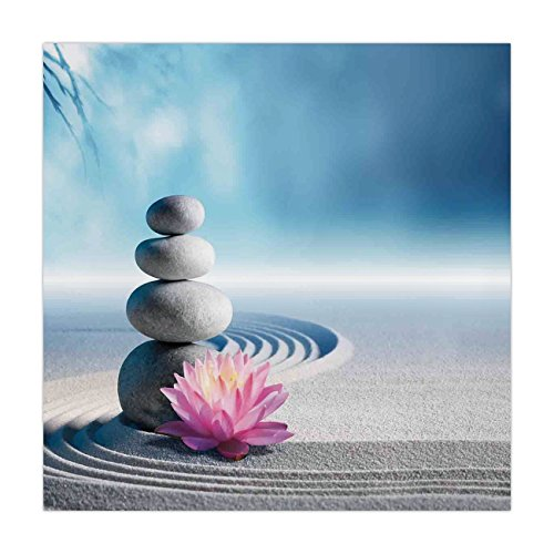 Polyester Square Tablecloth,Spa Decor,Stones and Lotus Flower over Sand Meditation Harmony Balance Flourish Your Spirit Theme,Grey Blue Pink,Dining Room Kitchen Picnic Table Cloth Cover,for Outdoor In by iPrint
