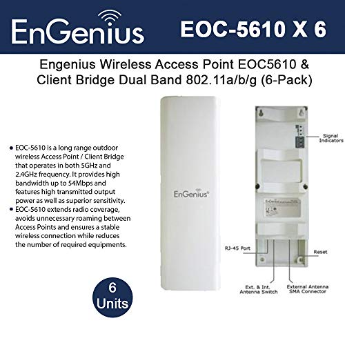 Engenius Wireless Access Point EOC5610 Long Range Outdoor & Client Bridge Dual Band 802.11a/b/g (6-Pack)