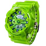 New Unisex Fashion Sport Watch Analog/Digital Water Resist Dual Time Multifunction Alarm Led Womens Mens Wristwatch 6 Colours Option (Green)