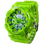 New Unisex Fashion Sport Watch Analog Digital Water Resist Dual Time Multifunction Alarm Led Womens Mens Wristwatch 6 Colours Option Green