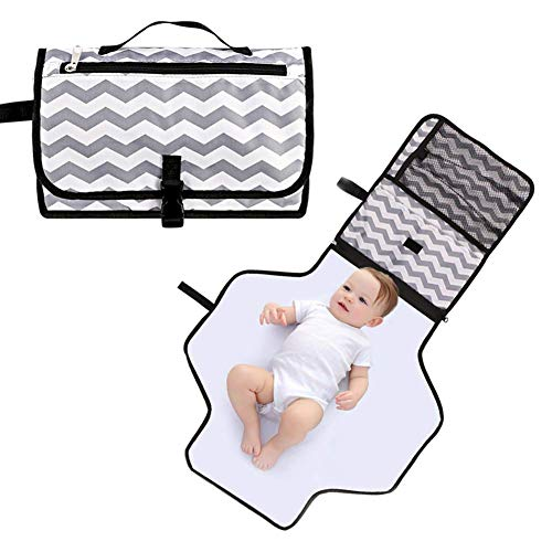 Baby Changing Pad Portable Waterproof Diaper Changing Pad Kit Foldable Travel Home Change Mat Organizer Bag for Toddlers Infants and Newborns (Grey)