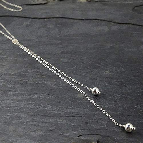 - Long Sterling Silver Lariat Necklace Jewelry Gift for Her