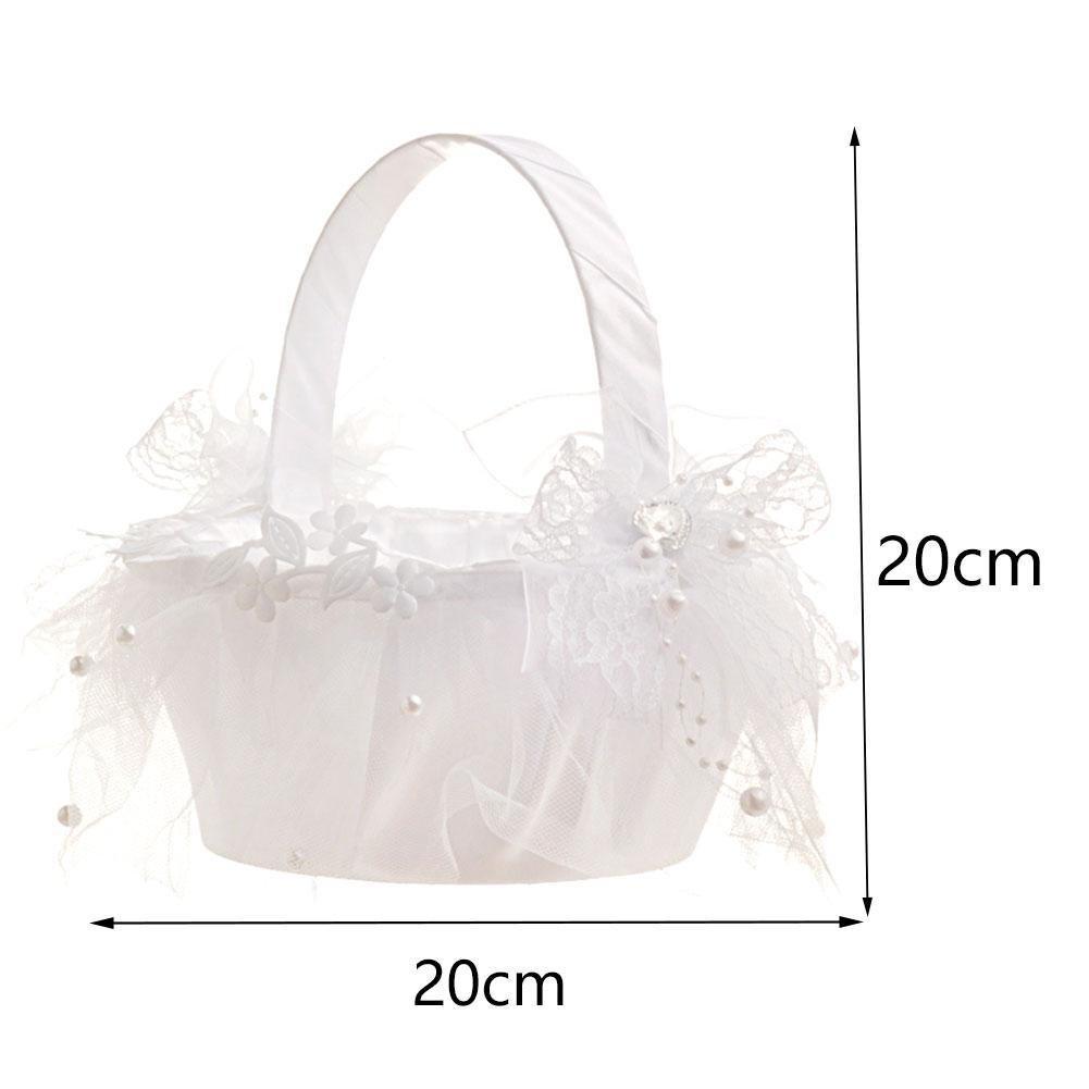 Taloyer Bride Hand Knit Ribbon Lace Flower Basket Delicate Wedding Supplies by Taloyer (Image #4)