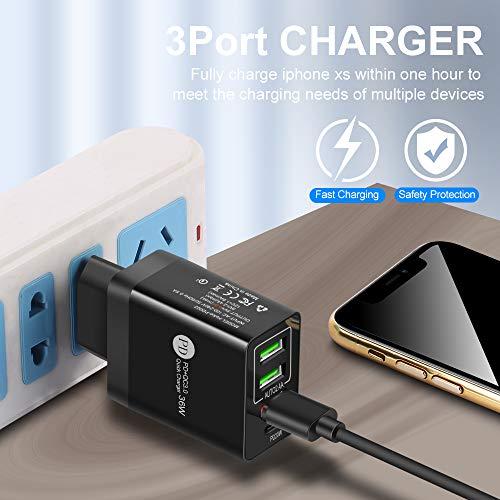 Cargador USB C,Qc3.0+PD Cargador De Red,3 Puertos Cargador MóVil Universal Adaptador,Cargador Rapida Power Delivery.para Samsung Iphoneipad Huawei Google MáS