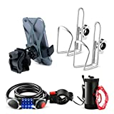 Bikes On Hikes 5 Piece Bike Accessory Kit Red - Includes Handle Bar Cup Holder (2), Led Wheel Light (1), LED Combination Lock (1), Phone Mount (1) - Perfect All in One Set for Bike/MTB Riding
