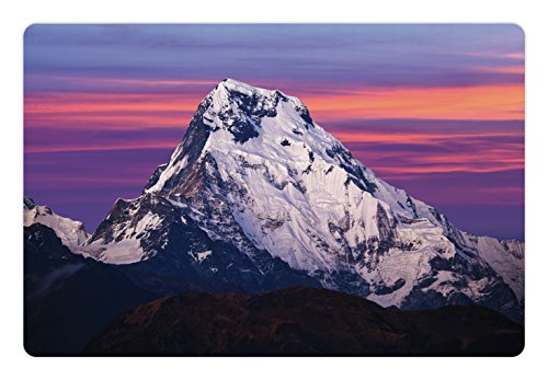 Himalayan Rectangle Rug - Ambesonne Nepal Pet Mat for Food and Water, Himalayan Mountain in The Sunset Nature Photography Idyllic Composition Trekking, Rectangle Non-Slip Rubber Mat for Dogs and Cats, Multicolor