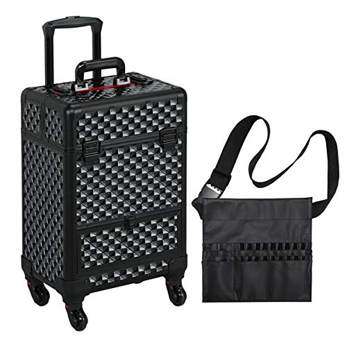 Yaheetech All Black Makeup Case Rolling Train Case Lockable Cosmetic Trolley Spinner Wheels with Sliding Drawer Makeup Brush Bag