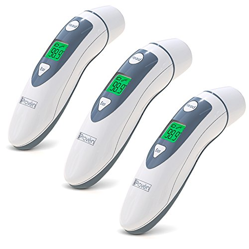 Medical Ear Thermometer with Forehead Function - iProven DMT-489 - Upgraded Infrared Lens Technology for Better Accuracy - 3-PACK