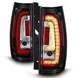 For [C-Shape LED] 07-14 Chevy Suburban Tahoe Yukon Yukon XL Black Bezel Tail Lights Rear Brake Lamps Left+Right Pair