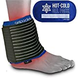 Gelpacksdirect Reusable Hot/Cold Gel Ice Pack with Compress Ankle Wrap - Fast & Lasting Pain Relief