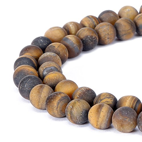 Beads Tiger Eye 8mm - BRCbeads Tiger Eye Natural Gemstone Loose Beads 8mm Matte Round Crystal Energy Stone Healing Power for Jewelry Making- Yellow