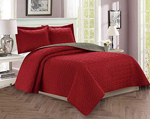 Celine Linen  Luxury 3-Piece Bedspread Coverlet Majestic Design Quilted Set with Shams - All Season Heavy Weight- Hypoallergenic- Wrinkle & Fade Resistant- Full/Queen, Burgundy/Gray (Holiday Bedding Sets)