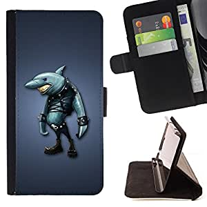 Jordan Colourful Shop - akula shark odezhda siniy fon For Apple Iphone 4 / 4S - Leather Case Absorci???¡¯???€????€?????????