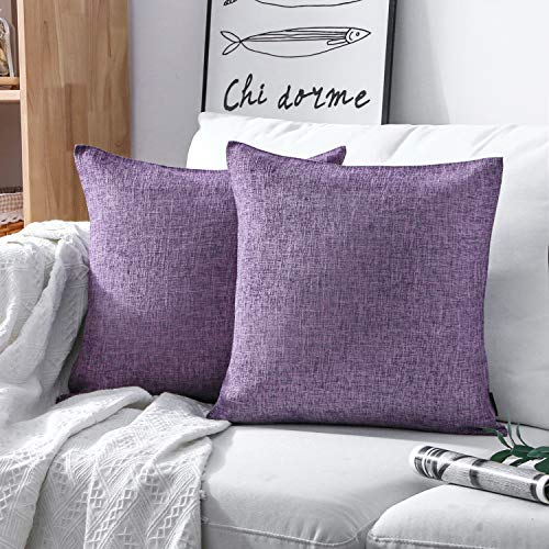 Phantosope Decorative Set of 2 Textural Faux Linen Series Throw Pillow Case Cushion Cover Light Purple 18 x 18 inches 45 x 45 cm -