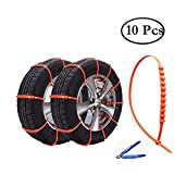 HCMAX 10 pcs emergency escape disposable snow helper zip grip gob tire chain car tire anti slip chain snowy road / freeze / sand / emergency road emergency slip chain non-metallic tire chain simple tire application