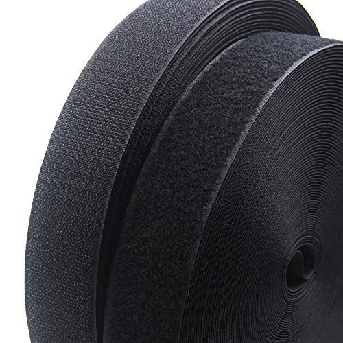 Anncus New 2 Rolls 25Meter Black Hook and Loop No Self Adhesive Nylon Blended Sticking Tape with White Stickers Magic Tape Hook & Loop - (Color: Black Width 80mm) by Anncus
