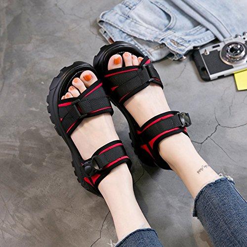 Xing Lin Sandalias De Mujer Espesor De Verano Sandalias Mujer Pendiente Con Velcro Batidos Casual Zapatos Zapatos Con Plataforma Impermeable red