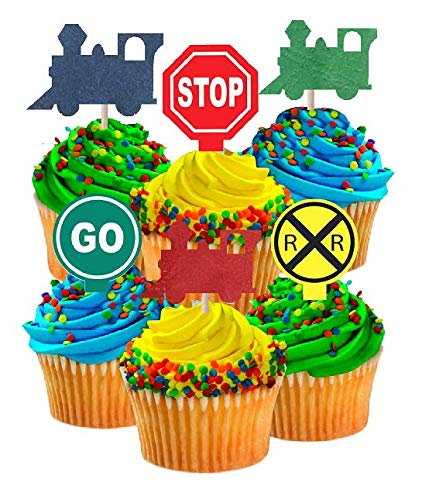 CakeSupplyShop Birthday Party Food/Appetizer/Desert/Cupcake Decoration Toppers (24pack Train & Railroad Sign) ()