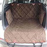 Fosinz Quilted Waterproof Pet Dog Car Seat Cover with Side Flaps Exclusive Nonslip Washable Hammock Dog Cat Pet Car Mat (L, Brown)