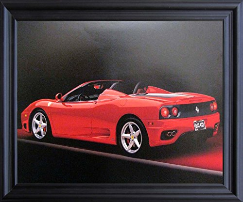 Impact Posters Gallery Red Ferrari 360 Modena Spider Sports Car Wall Black Framed Picture Art Print (Spider 360 Ferrari Modena)