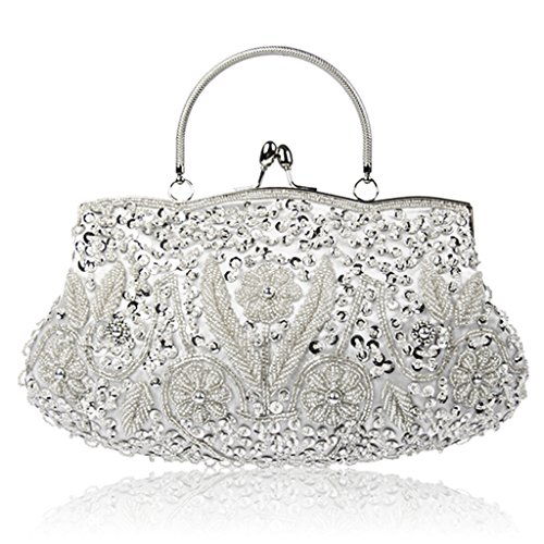 Clutch Silver Kiss Sequin Wedding Flower Evening Beaded Purse Women's Vintage Lock Dabixx pP4q88