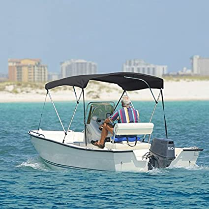 North East Harbor 3 Bow Boat Bimini Top Cover Gray with Rear Support Poles  and Zippered Boot Fits 54