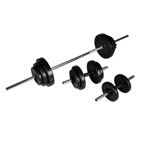 Kit de barra de pesas y 2 mancuernas, 30,5 kg disco polietileno