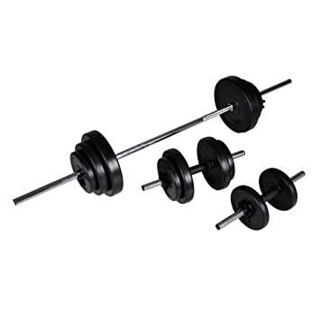 Kit de barra de pesas y 2 mancuernas, 30,5 kg disco polietileno: Amazon.es: Deportes y aire libre