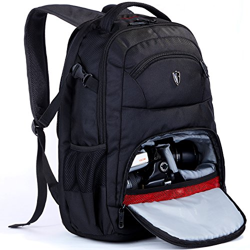 Victoriatourist DSLR Camera Bag Backpack with Laptop Compartment and Raincover Fits 15.6 inch Laptops, Black (Black6022) ()