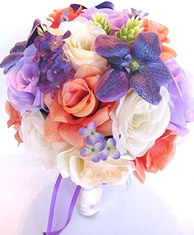 Amazon Com Wedding Bouquets Bridal Silk Flowers Purple Coral