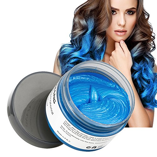MOFAJANG Hair Color Wax, Instant Blue Hair Color Wax, Temporary Hairstyle Cream 4.23 oz, Hair Pomades, Hairstyle Wax for Men and Women (Blue) ()
