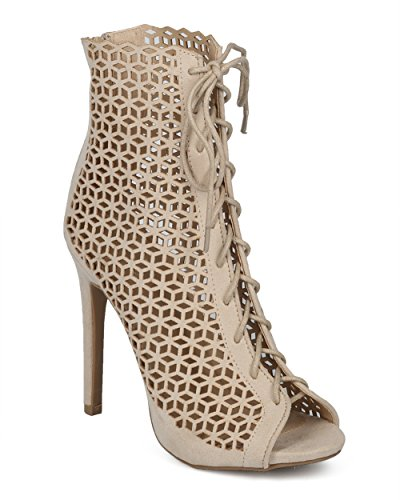 Alrisco Women Perforated Stiletto Bootie - Laser Cut Heel Ankle Boot - Dressy Sexy Versatile Cut Out Heel Boot - HC62 by Wild Diva Lounge Collection Stone Faux Suede vV5cva