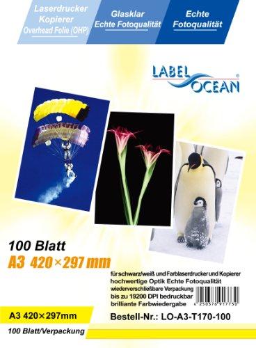 100 Blatt A3 Overheadfolie (OHP Transparentfolie Transparentpapier) für schwarz/weiss Laserdrucker und Farblaserducker, schwarz weiss Kopierer und Farbkopierer