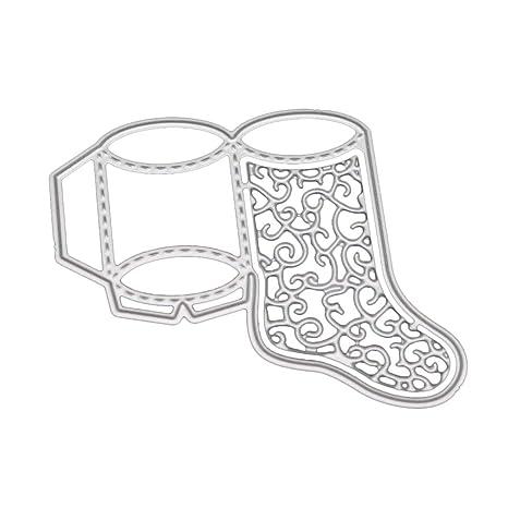 Dabixx Troqueles de Corte de Metal, Calcetines de Corte de Navidad Muere Plantilla de Corte