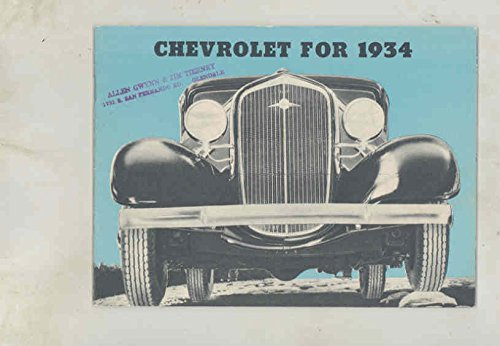 Amazon com: 1934 Chevrolet Master Six Brochure