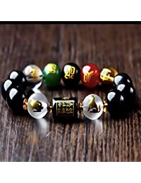 Feng Shui Obsidian Five-Element Wealth Porsperity Bracelet, Attract Wealth and Good Luck, Deluxe Gift Box Included