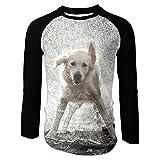 The Sticky Catmens Dog Making It Rain Photographic Image Cool Raglan Shirt Baseball T Shirt