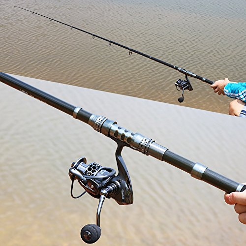 Sougayilang spinning fishing rod and reel combos portable for Open reel fishing pole