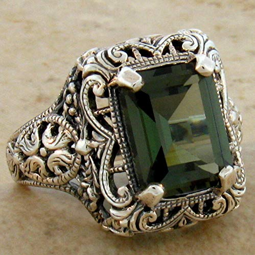 4.5 CT. SIM Tourmaline .925 Sterling Silver Antique Design Ring Size 5.75 KN-4027 from VELEZO