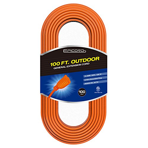 EPICORD 16/3 Vinyl Outdoor long Extension Cord 3 prong Heavy Duty for Indoor and Outdoor (100 Feet Orange)