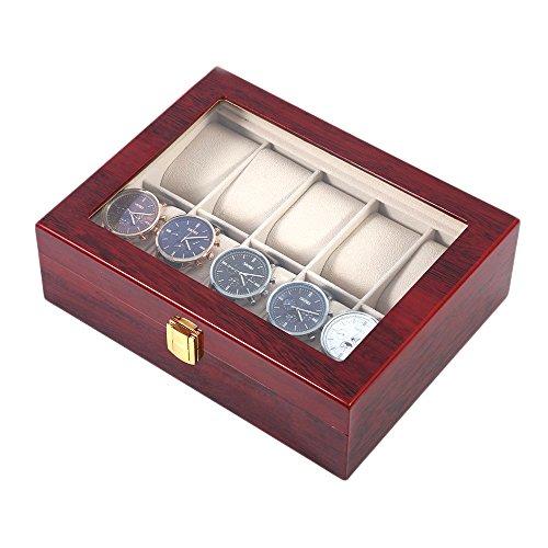 Caja De Reloj De Madera De Lujo, Madera Maciza 10 Reloj De La Rejilla Casos De Visualización De Relojes De Regalo Perfecto...