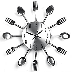Stainless Steel Kitchen Utensil Clock for Kitchen Déco Indoor and Outdoor, Kitchen Cutlery Wall Clock silver with Toned Forks, Spoons, Spatulas