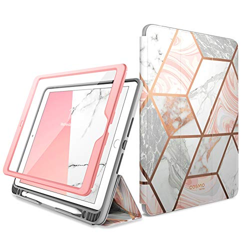 i-Blason Cosmo Case for New iPad 7th Generation - iPad 10.2 2019 Case - Full-Body Trifold with Built-in Screen Protector Protective Smart Cover with Auto Sleep Wake & Pencil Holder (Marble)