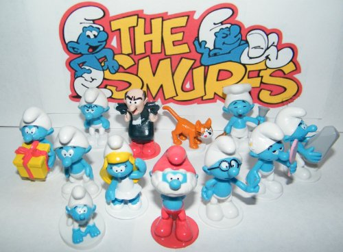 Smurfs Deluxe Mini Figure Set Toy Playset of 12 with Baby Smurf, Brainy Smurf, Smurfette, Gargamel, Azrael and More! (Cake Smurf)